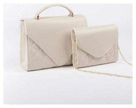 Набор сумок, отдел на клапане, длинный ремень, цепочка, цвет бежевый  NNB