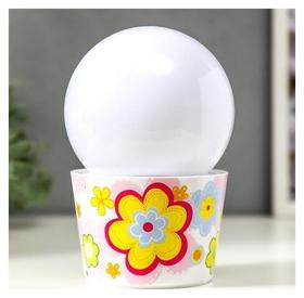 """Ночник """"Цветочное"""" LED от батареек 3хаа 10х10х16 см  КНР"""