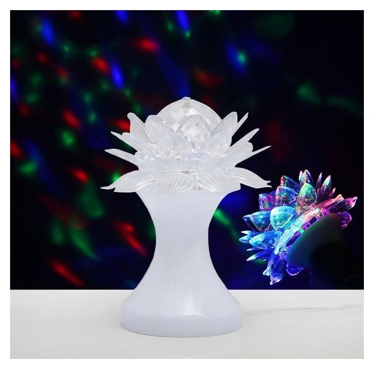 Световой прибор хрустальный шар Цветок диаметр 12,5 см V220 белый (RGB) LuazON