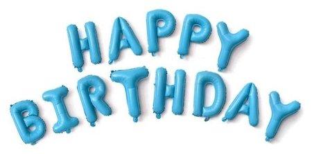Набор фольгированных шаров 16буквыhappy Birthday, голубой NNB
