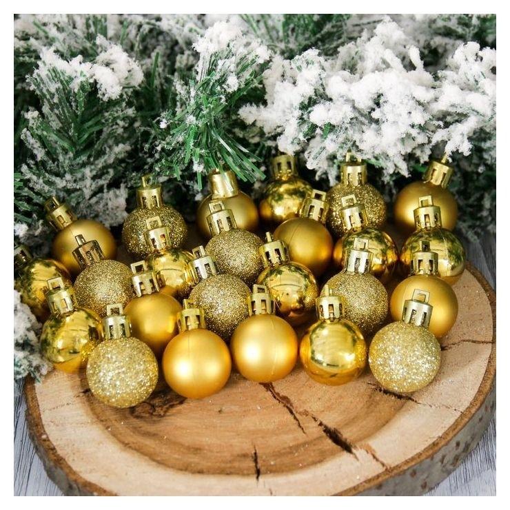 Набор шаров пластик D-3 см, 24 шт Алия золото Зимнее волшебство