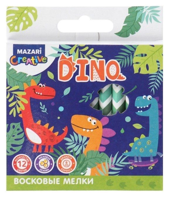 Мелки восковые 12 цветов, Mazari Dino, круглые, длина = 89 мм, D корпуса = 8 мм, в картонной коробке Mazari