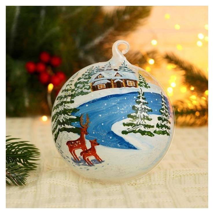 Ёлочный шар D-12 см Оленята в снежной деревушке ручная роспись NNB