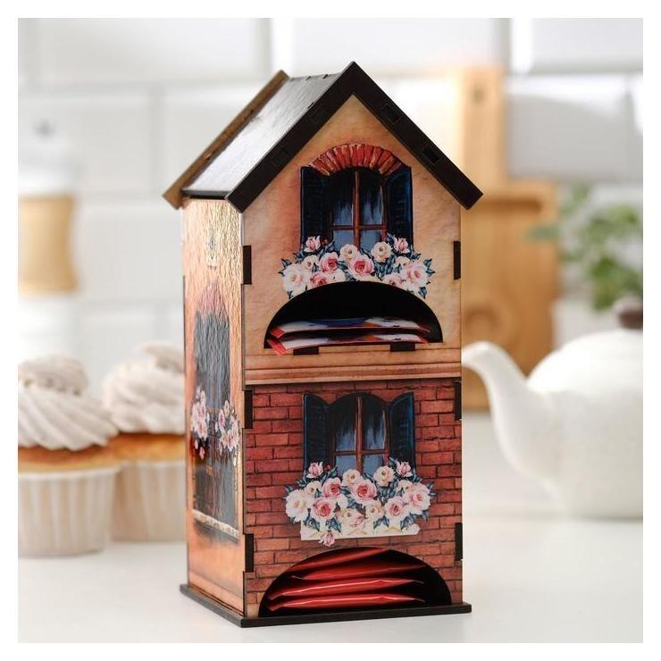 """Чайный домик двойной """"Дом с цветами"""" 9,6х22 см  NNB"""