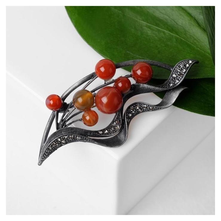Брошь Лист сердолик, цвет серо-красный в сером металле NNB