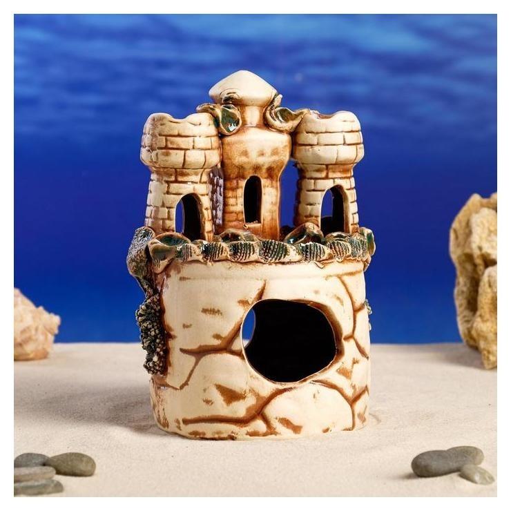 Декорации для аквариума Замок и две башенки Керамика ручной работы