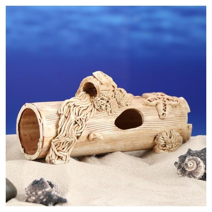 """Декорации для аквариума """"Труба длинная с ракушками""""  Керамика ручной работы"""