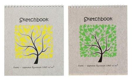 Альбом для зарисовок а5+, 20 листов на гребне Sketchbook Black, чёрная бумага, блок 140 г/м²  Полином