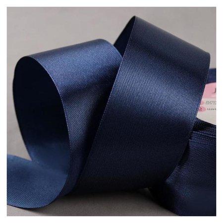 Лента атласная, 40 мм × 23 ± 1 м, цвет тёмно-синий №81  Арт узор