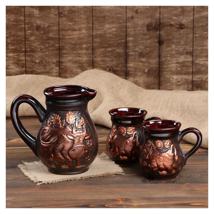 Набор молочный Корова, 3 предмета, коричневый Керамика ручной работы