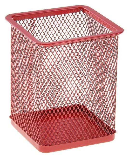 Стакан для пишущих принадлежностей, квадратный, металлическая сетка, красный  Calligrata
