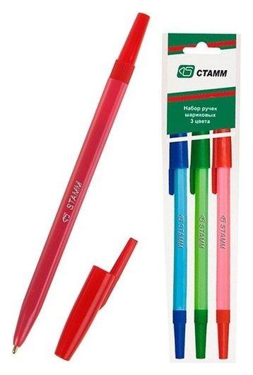 Набор ручек шариковых 3 цвета «Стамм» 049, узел 1.0 мм, чернила: синие, красные, зелёные, европодвес Стамм