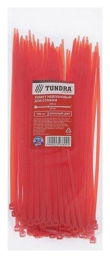 Хомут нейлоновый Tundra Krep, для стяжки, 3.6 х 200 мм, красный, в упаковке 100 шт.  Tundra