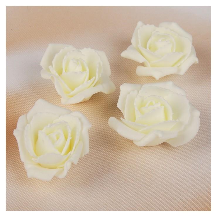 Набор цветов для декора из фоамирана, D=5 см, 4 шт, айвори NNB
