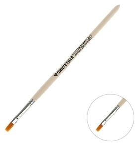 Кисть синтетика плоская № 4 (Ширина обоймы 4 мм; длина волоса 8 мм) ручка дерево, Calligrata  Calligrata