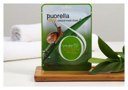 Маска для лица тканевая с экстрактом слизи улитки  Puorella