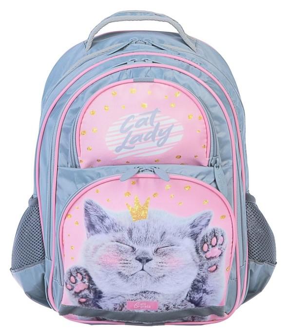 Рюкзак школьный с эргономичной спинкой, Calligrata, 36 х 23 х 13, «Кот», серый/розовый  Calligrata