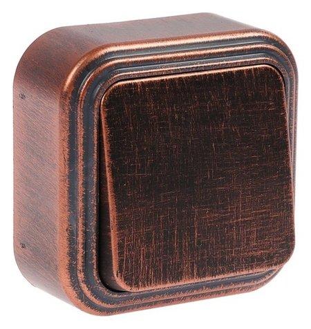 """Выключатель """"Элект"""" VA 16-131-чм, 6 А, 1 клавиша, наружный, цвет черный под медь  Элект"""