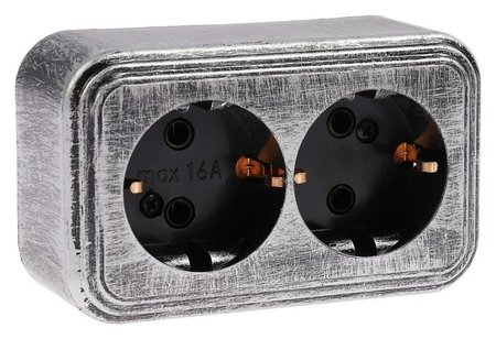 """Розетка """"Элект"""" RA 16-238-чс, 16 А, 250 В, двухместная, открытая, с з/к, черная под серебро  Элект"""
