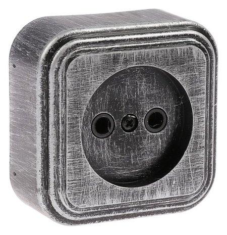 """Розетка """"Элект"""" RA 16-131-чс, 16 А, 250 В, одноместная, открытая, без з/к,черная под серебро  Элект"""