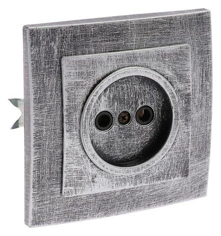 """Розетка """"Элект"""" RS 16-131-чс, 16 А, 250 В, одноместная, скрытая, без з/к,черная под серебро  Элект"""