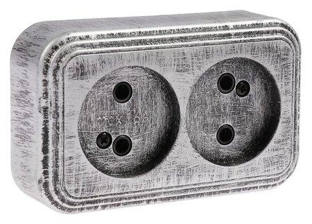 Розетка Элект RA 16-237-чс, 16 А, 250в, двухместная, открытая, без з/к,черная под серебро Элект