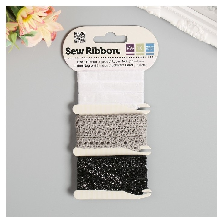 Набор лент Wrmk Sew Ribbon - цвет «Black» 1,83 м We R Memory Keepers