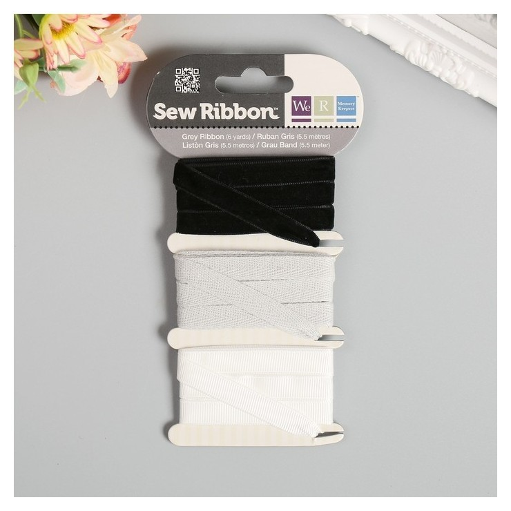 Набор лент Wrmk Sew Ribbon - цвет «Grey» 1,83 м We R Memory Keepers