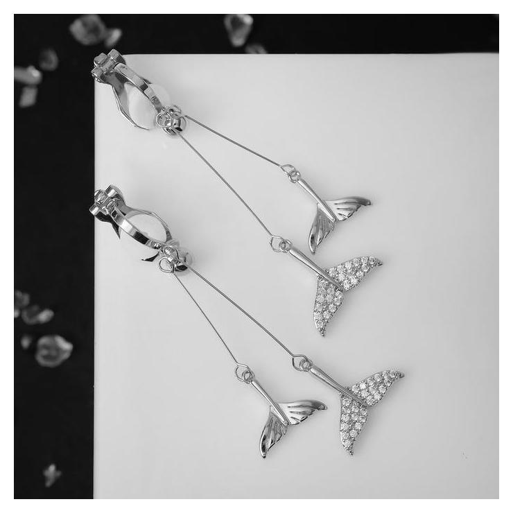 Клипсы Чувства китовый хвост, цвет белый в серебре NNB