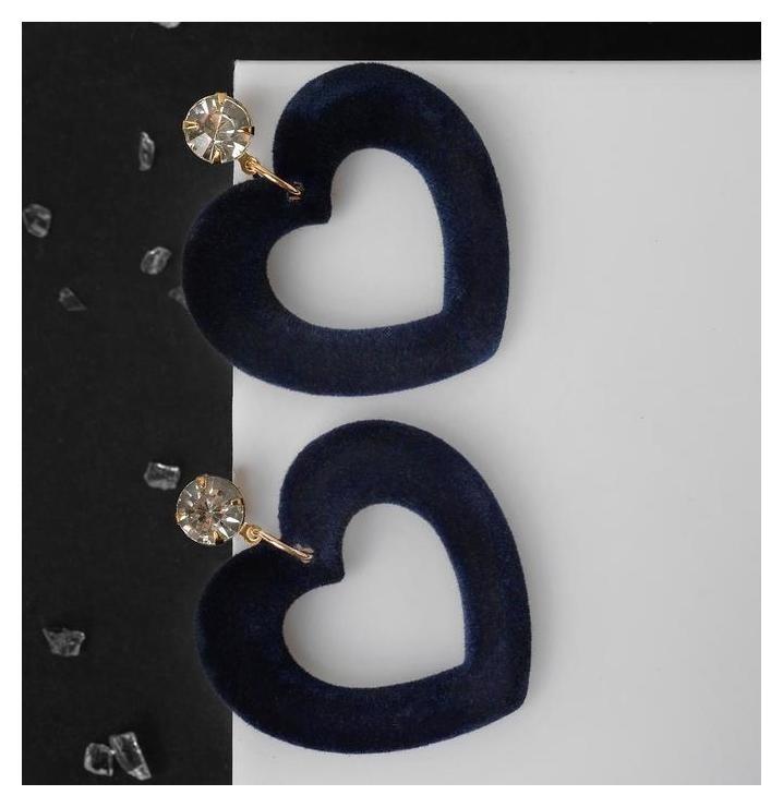 Серьги Форма сердечки, цвет сине-белый в золоте NNB