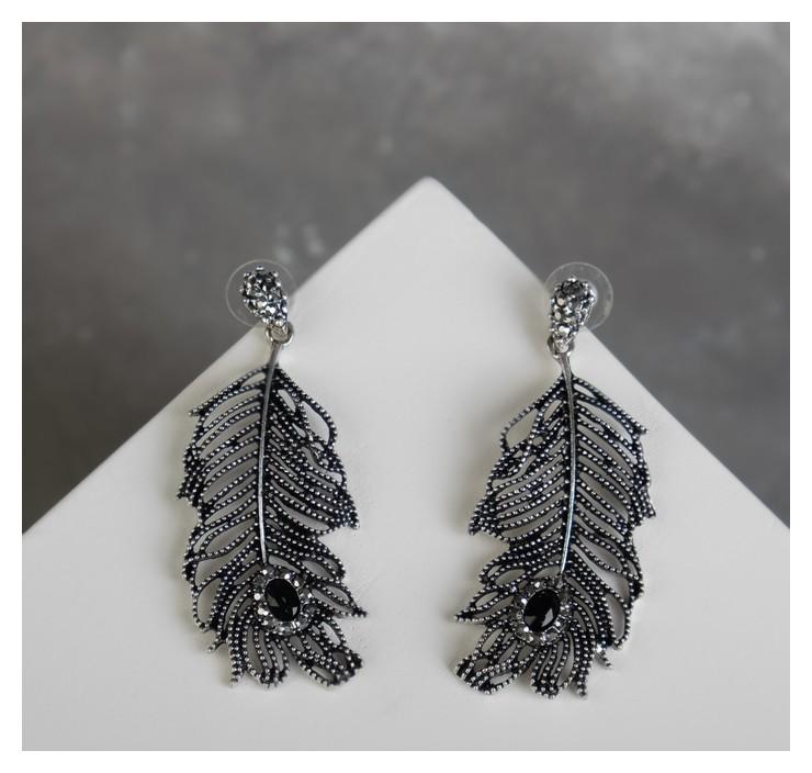 Серьги со стразами Свидание перья, цвет серо-чёрный в чернёном серебре NNB