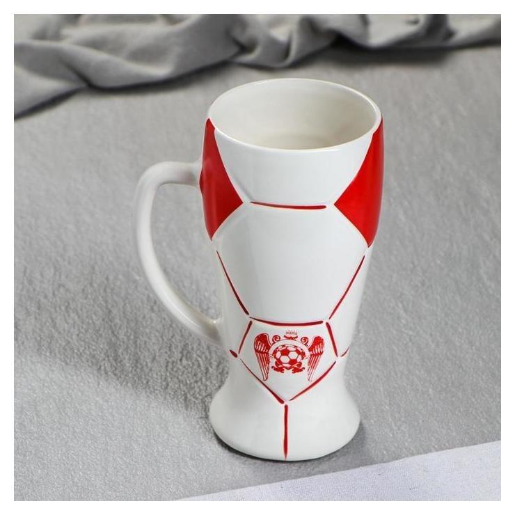 """Бокал """"Футбол"""" цвет красный, 0,5 л  Керамика ручной работы"""