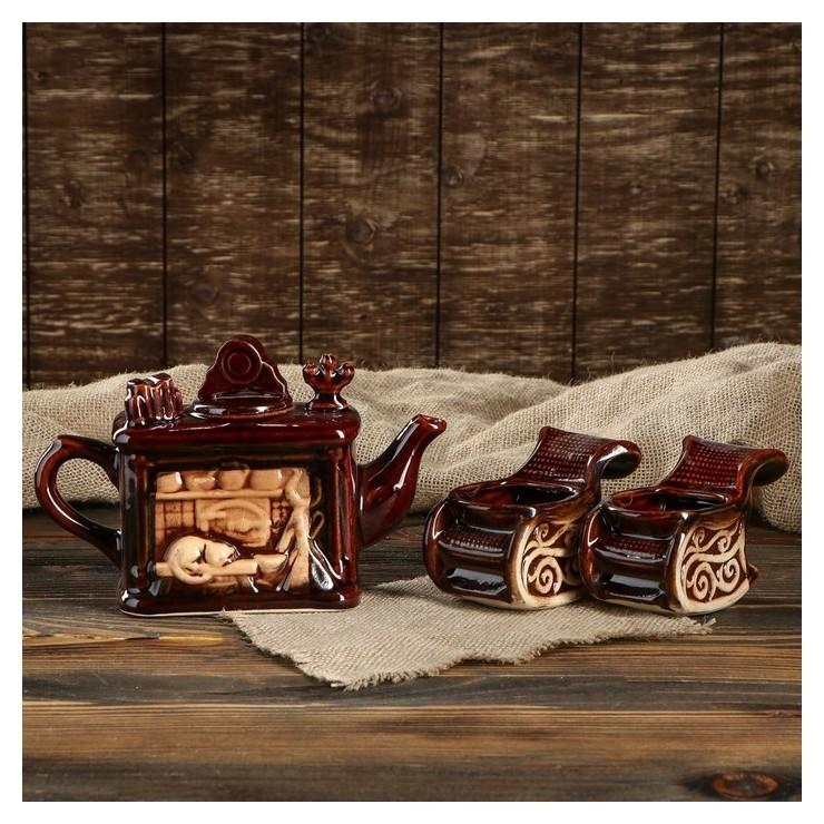 """Чайный набор """"Камин"""" 3 предмета 0,5 л  Керамика ручной работы"""
