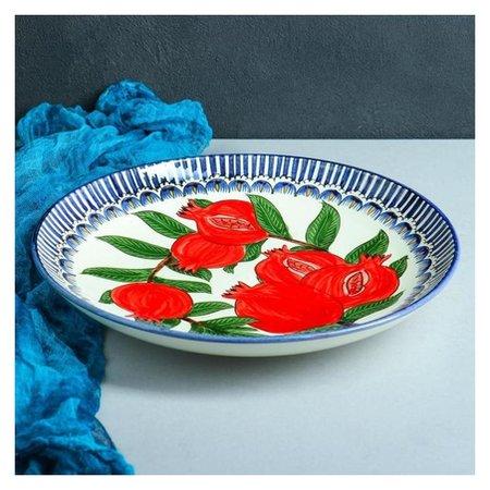 Ляган круглый «Гранат», 31 см, синяя кайма Риштанская керамика