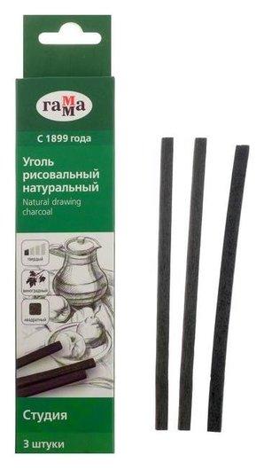 """Уголь натуральный 5 мм набор 3 штуки, квадрат «Гамма» """"Студия"""" 120 мм, твердый, виноградный  Гамма"""