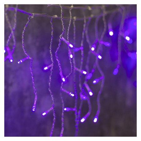 Гирлянда Бахрома 3 х 0.5 м, Ip20, прозрачная нить, 80 Led, свечение фиолетовое, 8 режимов, 220 В LuazON