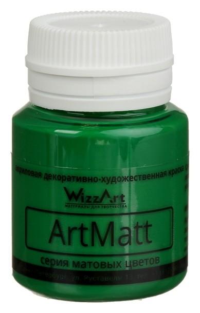 Краска акриловая Wizzart, 20 мл, зелёная, матовая WizzArt