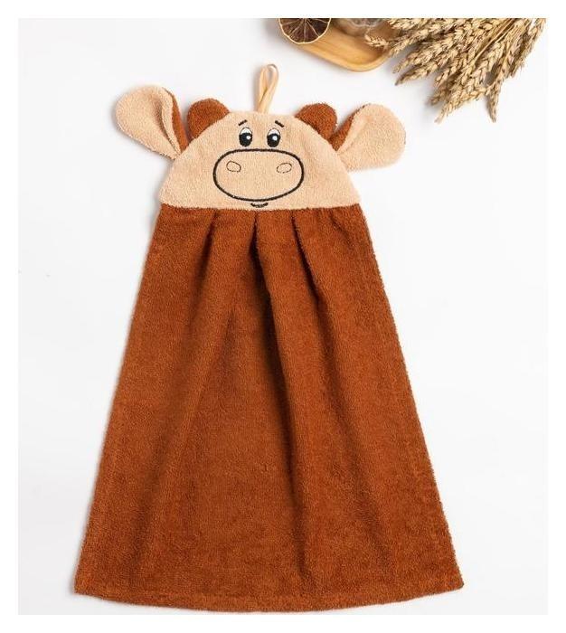Полотенце-рушник махровый Бычок 43х35см, коричневый, хл100%, 300 г/м Гранд-стиль