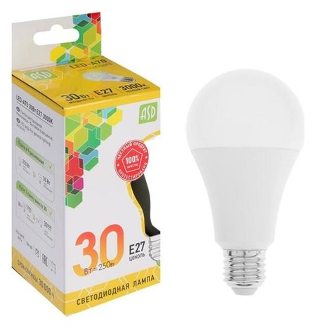 Лампа светодиодная ASD Led-a70-std, е27, 30 Вт, 230 В, 3000 К, 2700 Лм  ASD