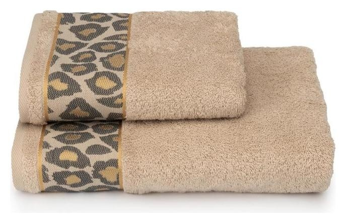 Полотенце махровое Leopardo пц-3501-4478-2 цв.12-4301 70х130 см, бежевый, хл100%, 460г/м2  Cleanelly