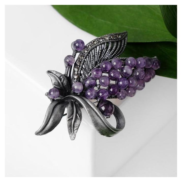 Брошь Агат гроздь, цвет фиолетовый в сером металле NNB