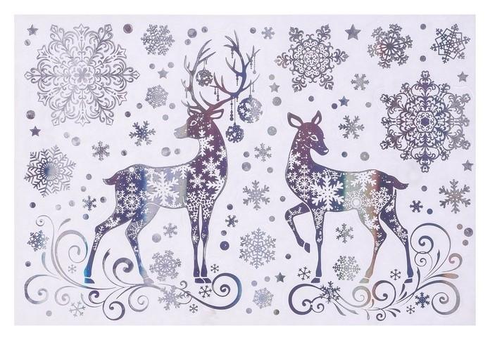 Набор наклеек Зимняя сказка голографическая фольга, олени, снежинки, 16,7 х 24,6 см Фда-card