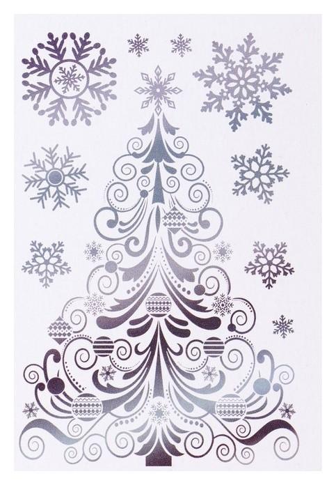 """Набор наклеек """"Новогодняя ёлочка"""" голографическая фольга, снежинки, 16,7 х 24,6 см  Фда-card"""