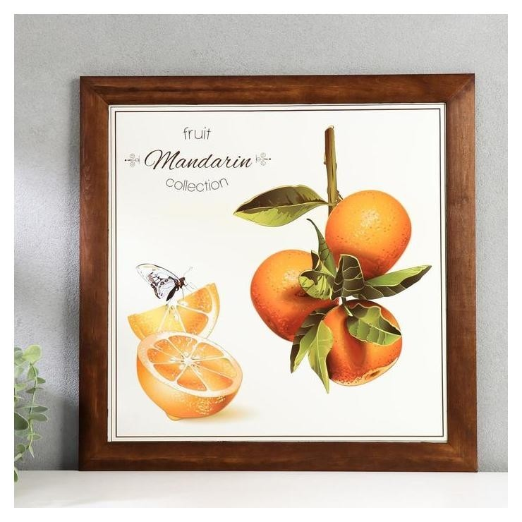 Постер дерево Фруктовая коллекция. мандарины 35х35 см, венге NNB