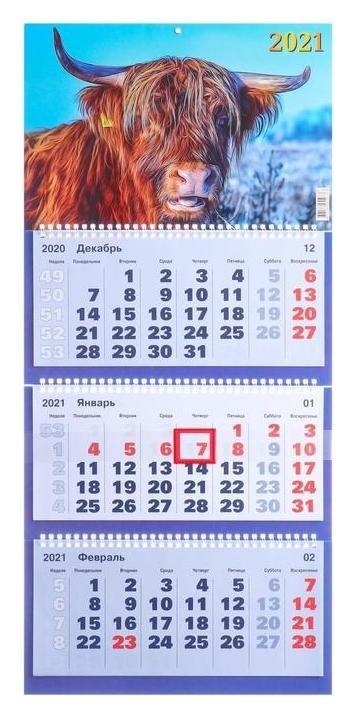 Календари квартальные трио  2021 - 4 31 х 69 см NNB