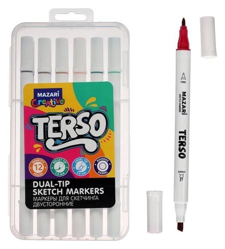 Маркер для скетчинга набор Terso,12цв., корпус круглый, пулевид./клиновид.након, 1.0-3.0мм Mazari