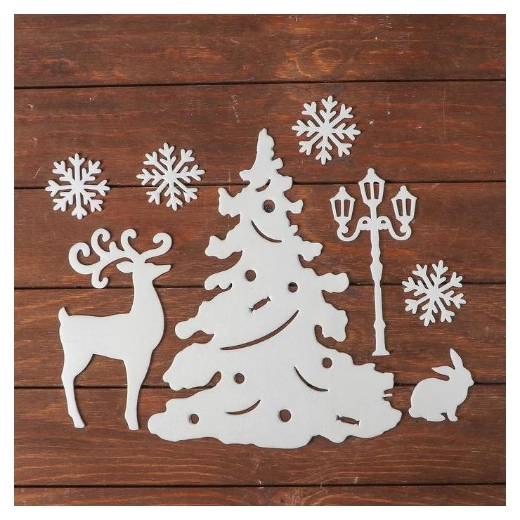 Набор декоративных наклеек Праздник, елка с игрушками, заяц, олень, фонарь, 4 снежинки по NNB