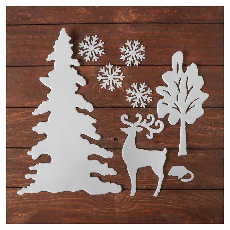 Набор декоративных наклеек Новогодний пейзаж, 4 снежинки по 7 см, олень, елка, дерево, мыш NNB