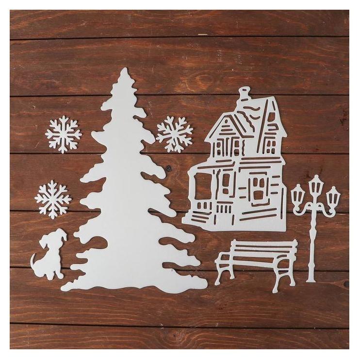 Набор декоративных наклеек Новогодний вечер, елка средняя, скамейка, собака, 3 снежинки по NNB