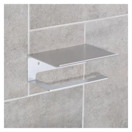 Держатель для туалетной бумаги с полочкой 6,5×16×11,5 см, алюминий  NNB
